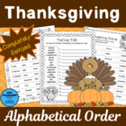 Thanksgiving ABC Order from Devoted to Vocabulary Development