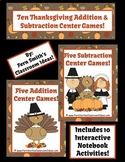 Thanksgiving Addition Subtraction Math Centers with Intera