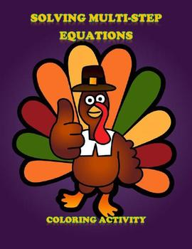 Thanksgiving Algebra Solving Equations Coloring Activity