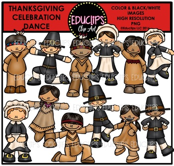 Thanksgiving Celebration Dance Clip Art Bundle