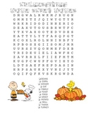 Thanksgiving Charlie Brown Word Search