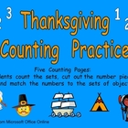 Thanksgiving Counting Sets Independent Practice for Kindergarten