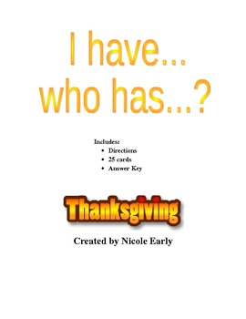 Thanksgiving Edition of  I have...who has...?