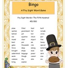 Thanksgiving Fry Words 451-500 Bingo Game
