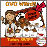 Thanksgiving Game: CVC Word Family Words -Turkey SWIPE {CCSS}
