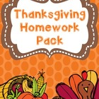 Thanksgiving Homework Pack