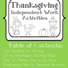Thanksgiving Independent Work Activities