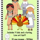 Thanksgiving Kids (includes line art)