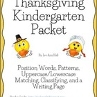 Thanksgiving Kindergarten Packet