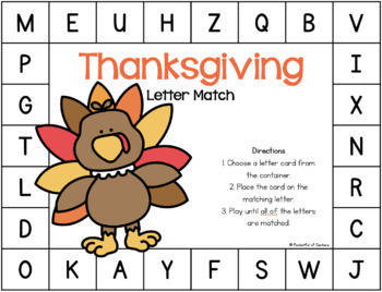 Thanksgiving Letter Match Pre-K Work Station {FREE}