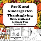 Thanksgiving: Math, Craft, and Literacy Fun Centers for Pr