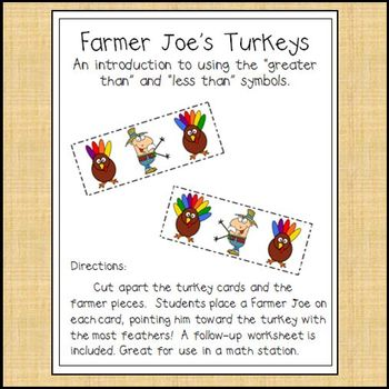 Thanksgiving Math - Greater Than, Less Than