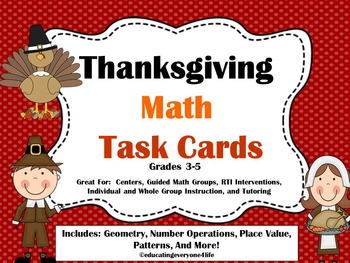 Thanksgiving - Math Task Cards