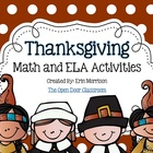 Thanksgiving Math and ELA Activities
