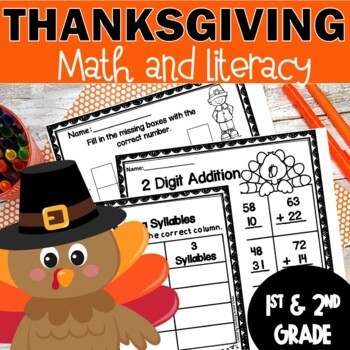 Thanksgiving Math and Literacy Printables Activities Cut and Paste