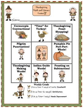 Thanksgiving Math and Literacy Centers with Tic-Tac-Toe Rubric