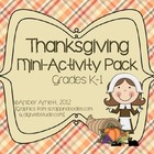 Thanksgiving Mini-Activity Pack for Grades Kindergarten and 1st