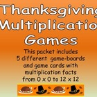 Thanksgiving Multiplication Games- All Facts from 0 x 0 to
