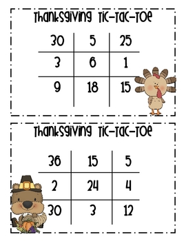 Thanksgiving Multiplication Tic-Tac-Toe