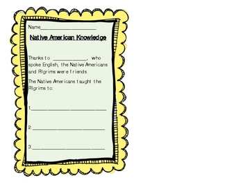 Thanksgiving Native American Writing and Craft Lesson