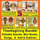 Thanksgiving Poems/Songs/Finger Plays-Shared Reading/Fluency