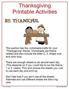Thanksgiving Preschool Worksheets