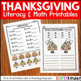 Thanksgiving Printables Kinder