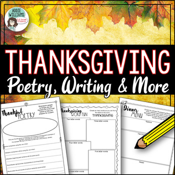 Thanksgiving Puzzles, Poetry and Writing Worksheets