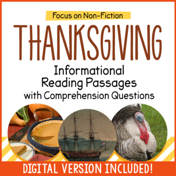 Thanksgiving Close Reading Informational Passages and Comprehension