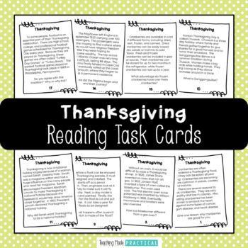 Thanksgiving: Reading Task Cards