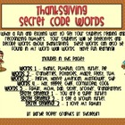 Thanksgiving Secret Code Words