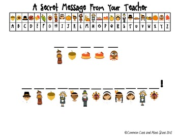 Thanksgiving Secret Message From Your Teacher (Decoding) N