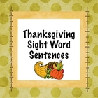 Thanksgiving Sight Word Sentences