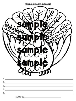 Thanksgiving Spanish Accion de Gracias worksheet