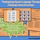 Thanksgiving Speech Language Therapy: Following Verbal Directions
