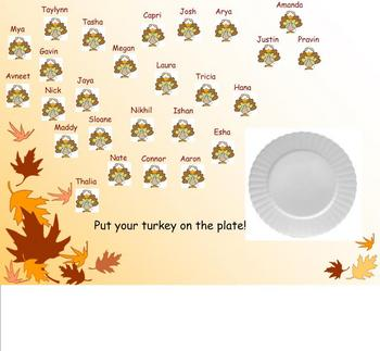 Thanksgiving Turkey Attendance for Smartboard
