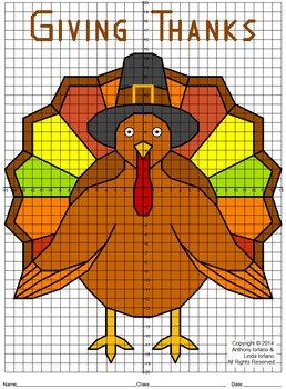 Thanksgiving Turkey, 4 Quadrants, Coordinate Drawing & Graphing, Mystery Picture