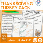 Thanksgiving Turkey Pack! Ties into Common Core Standards.