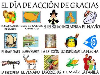 Thanksgiving Vocabulary Activities & Games Unit in Spanish