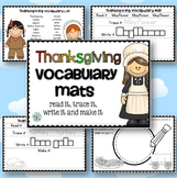 Thanksgiving Vocabulary Mats November Center Activity