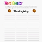 Thanksgiving Word Creator Puzzle Packet