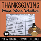 Thanksgiving Word Work Activity Packet