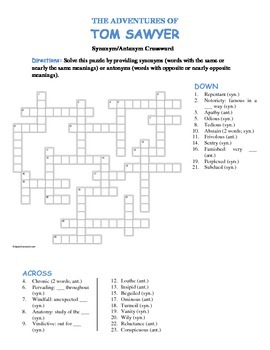 The Adv. of Tom Sawyer: Synonym/Antonym Vocabulary Crossword