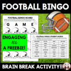 FREE The Big Football Game Bingo and Trivia Activity for S