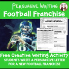 FREE The Big Game Persuasive Writing Project (Theme) Activity
