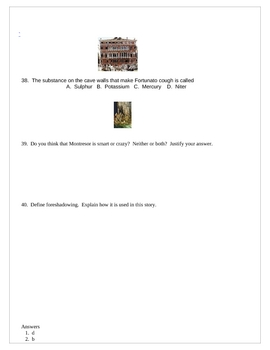 The Cask of Amontillado 40 Question Quiz--Mult. Ch, Vocab T/F