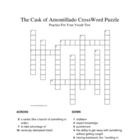 """The Cask of Amontillado"" Vocabulary Crossword Puzzle (Poe)"