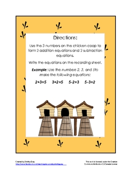 "The Chicken Coop ""Addition and Subtraction Equations"" Math Center"