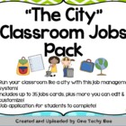 """The City"" Classroom Jobs Pack (lime green, turquoise, and"