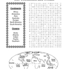 The Continents and Oceans Word Search Puzzle